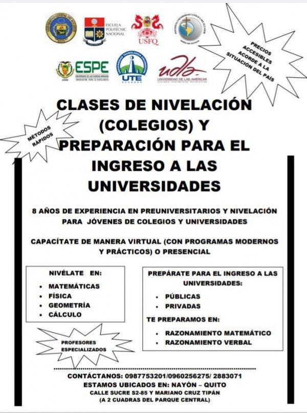 Cursos Online de Nivelación académica y preparación para el ingreso a universidades