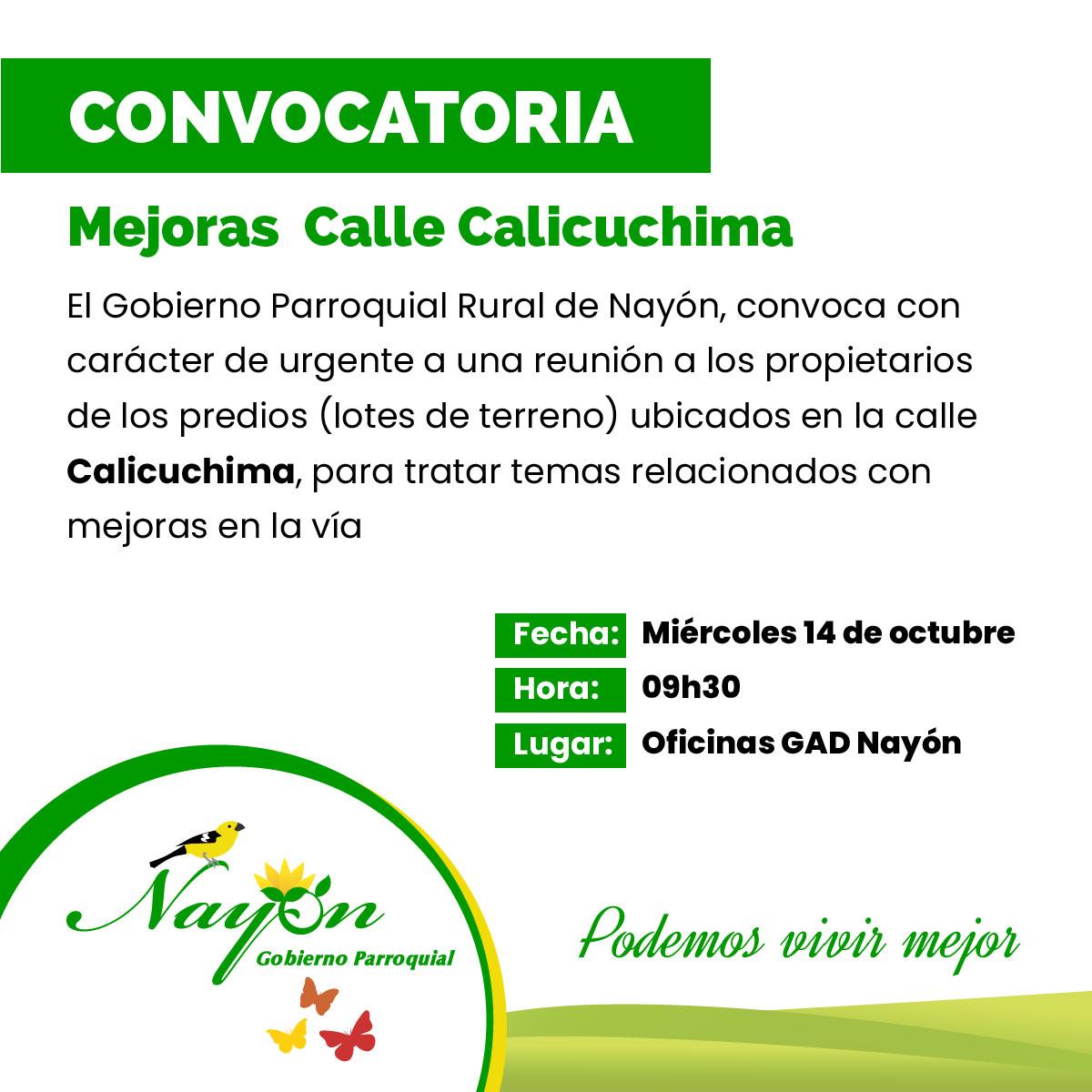 Convocatoria - Mejoras en la Vía Calicuchima