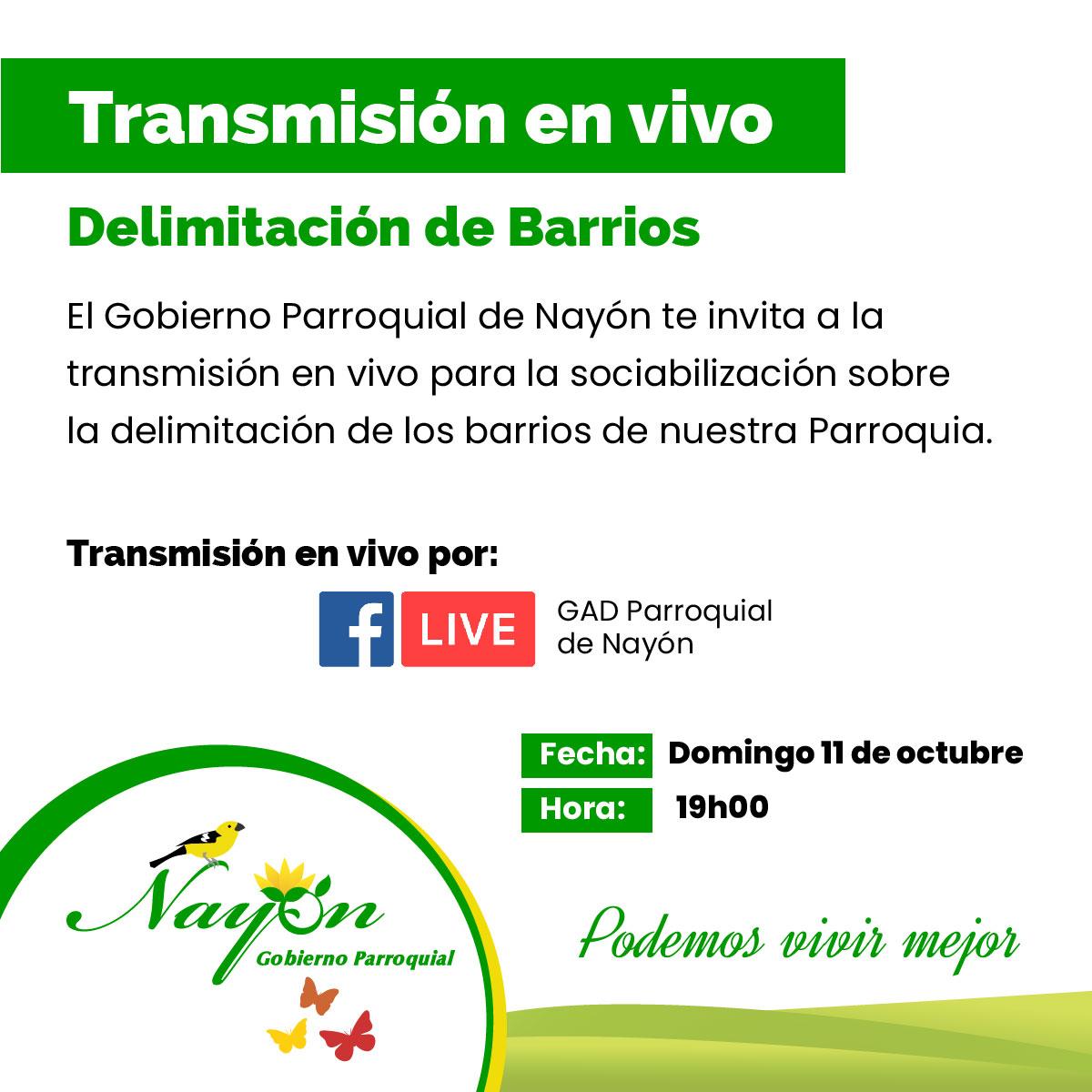 Transmisión en Vivo - Delimitación de Barrios