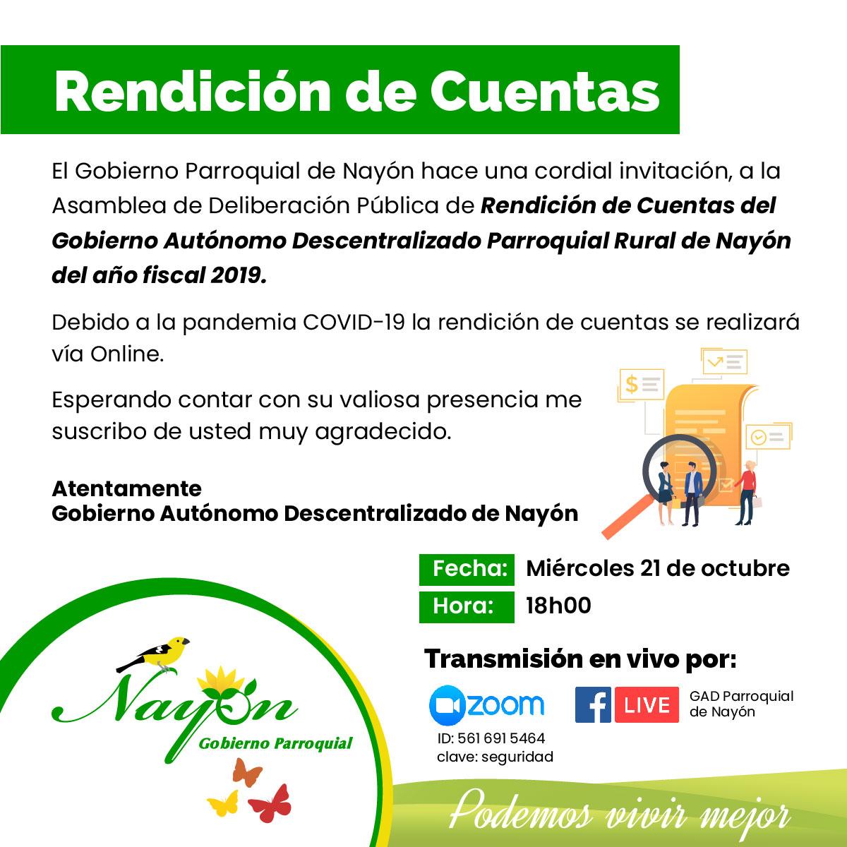 Asamblea de Deliberación Pública de Rendición de Cuentas del Gobierno Autónomo Descentralizado Parroquial Rural de Nayón del año fiscal 2019