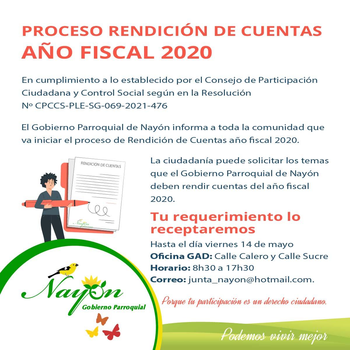 Proceso de Rendición de Cuentas del año fiscal 2020